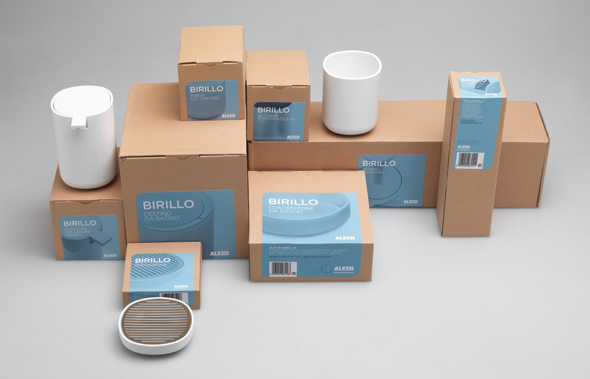 Bathroom Accessories Packaging lissoni associati - timeline - alessi - birillo packaging